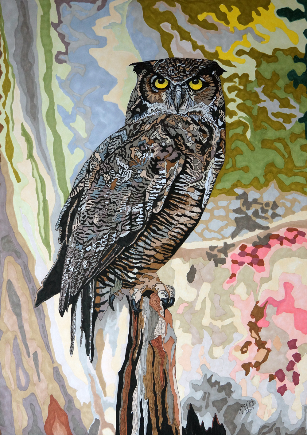 Eagle Owl 2 by Sharon T Ross 2017 pen and Ink on 250gsm paper 55x40cm 4