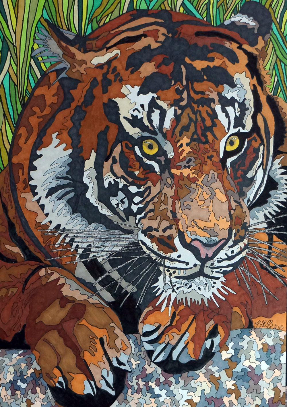 Tiger by Sharon T Ross 2015 pen and Ink on paper 30x42cm (3)