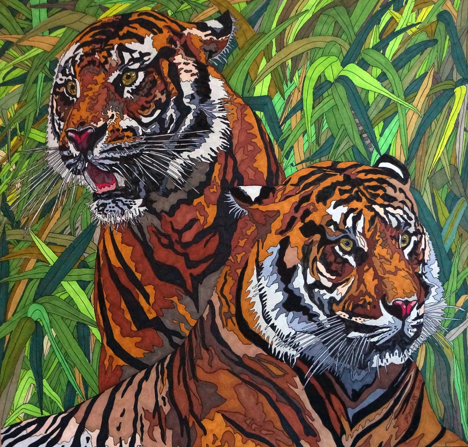 Tigers by Sharon T Ross 2016 pen & Ink on Paper 41x43cm