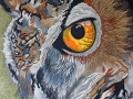 Eagle Owl 4 The Gaze 2018 by Sharon T Ross, Pen & Ink on Fabriano Paper 70x50cm 2