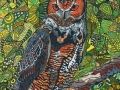 Great Horned Owl by Sharon T Ross Pen & Ink on Paper 30x42cm 2
