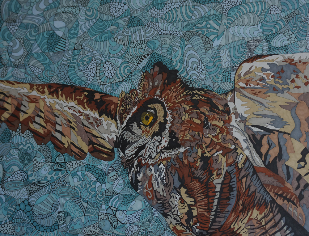 Eagle Owl by Sharon T Ross 2015 pen & ink on Paper 50x65cm 1