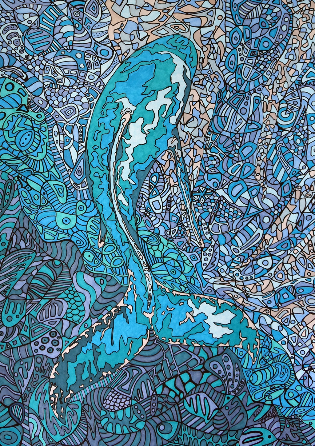 Evanescent by Sharon T Ross 2017 pen and Ink on 250gsm paper 55x40cm  (1)