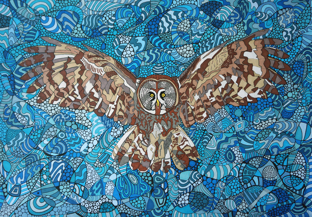 Flying Owl by Sharon T Ross 2015 pen & Ink on Paper 30x42cm (3)