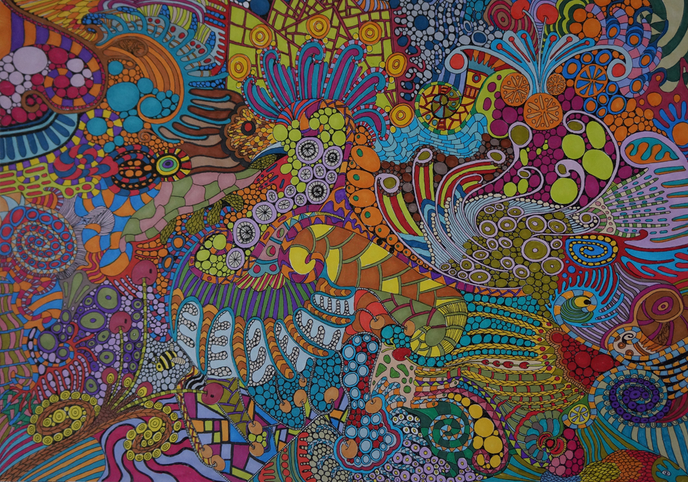 Tropical Bahama Mama By Sharon  Ross, 2014, Pen & Ink on 250gsm paper, 30x42cm