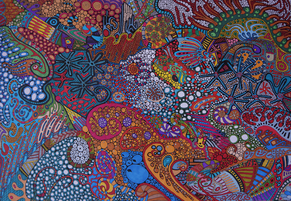 Tropical Delights by Sharon T Ross, 2014, pen & ink on 250gsm paper, 30x42cm (1)