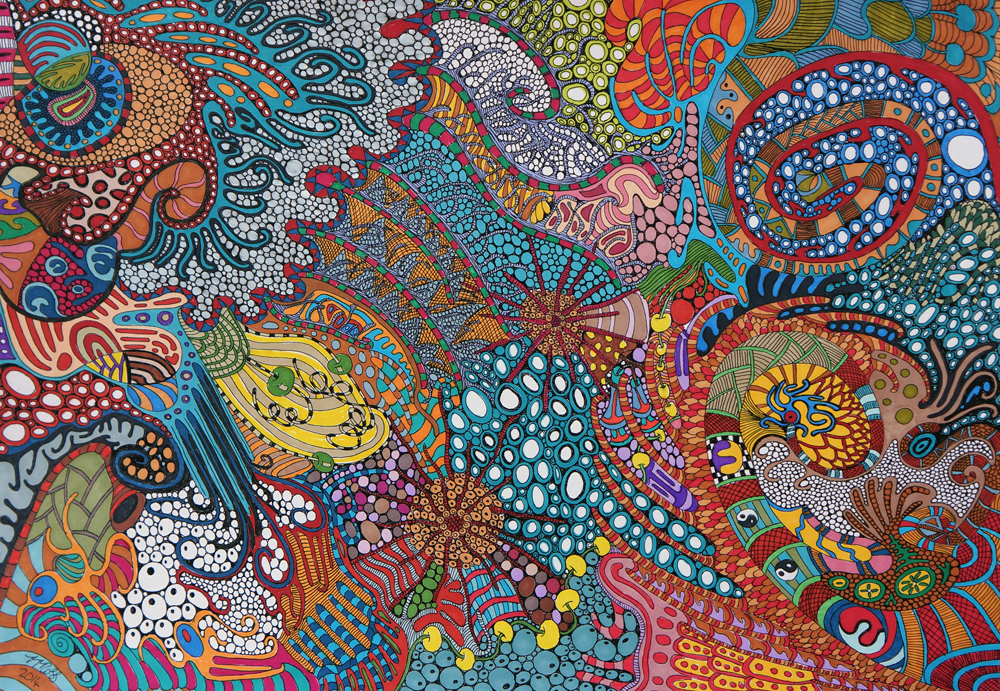 Tropical Swirls by Sharon T Ross, 2014, pen & ink on 250gsm paper, 30x42cm (2)