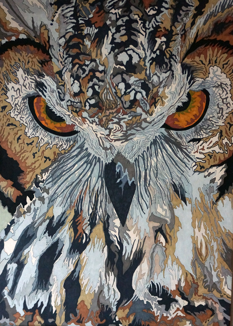 Eagle owl 3 The Gaze by Sharon T Ross 2018 pen and ink on fabriano paper 70x50cm 2