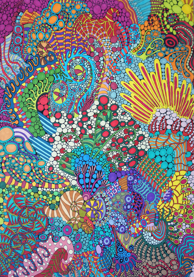 Tropical Actinaria, by Sharon T Ross, 2014, pen and ink on 250gsm paper 30x42cm